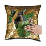 "DIY Customized Photo Mermaid Sequin Throw Pillow-Moon & Back-15"" x 15""-Yellow-Moon & Back"