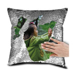 "DIY Customized Photo Mermaid Sequin Throw Pillow-Moon & Back-15"" x 15""-Silver-Moon & Back"