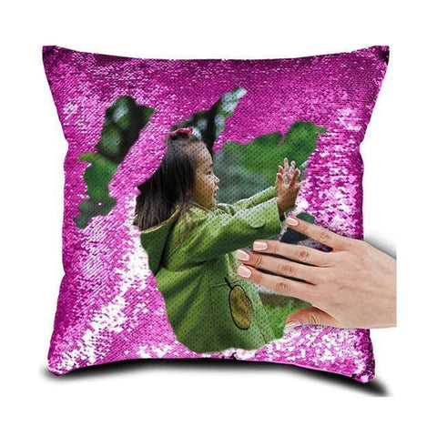 "DIY Customized Photo Mermaid Sequin Throw Pillow-Moon & Back-15"" x 15""-Purple-Moon & Back"