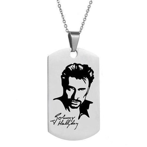 Personalized Dog Tag Pendant Necklace - Johnny Hallyday-Moon & Back-Moon & Back