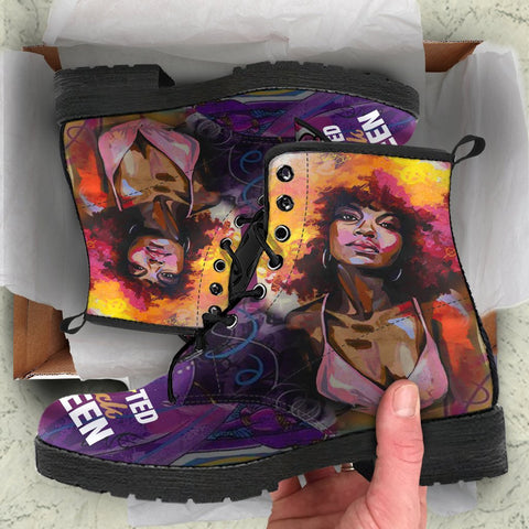 Educted Black Girl Queen Boot, Gifts For Black Women-Moon & Back