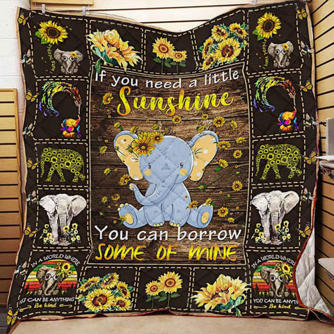 Elephant Sunflower Quilt Blanket, Elephant Blanket, Sunflower Blanket, Elephant Gifts, Sunflower Gifts, Elephant Decors - DG8052-Moon & Back