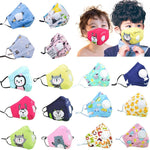 Face Children Mask, Washable Filter Pad Pollution Activated Carbon Filter, Kids Mask-Moon & Back