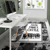 Faith Family Cattle Pattern Rug, Cow Cattle Lovers Gift-Moon & Back