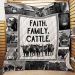 Faith Family Cattle Quilt Blanket, Cow Blanket, Farm Blanket, Farmer Blanket, Cow Gifts, Farm Theme Gifts-Moon & Back