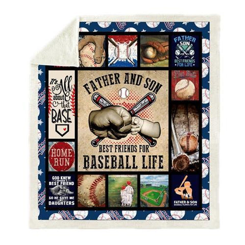 Father and Son Baseball Fleece Blanket-Moon & Back-28-51x59 Inches-Moon & Back