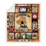 Father and Son Baseball Fleece Blanket-Moon & Back-17-59x78.7 Inches-Moon & Back