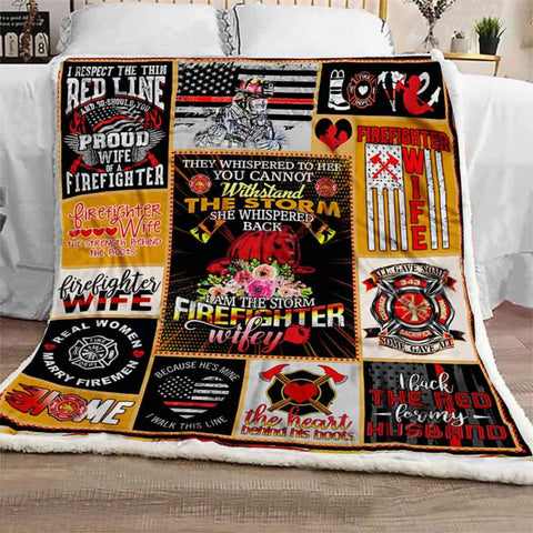Firefighter Wife Gift Special Anniversary Blanket - Birthday- Gift for Her- Gift for Wife-occupational gift-Moon & Back