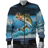 Fishing Bomber Jacket, Fishing Gifts, Gift for Fishers-Moon & Back