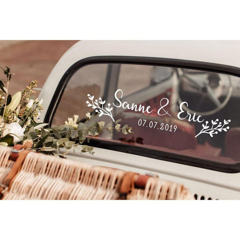 Floral Custom Name Wedding Decoration Sticker-Moon & Back-Black-23 inches X 5 inches-Moon & Back