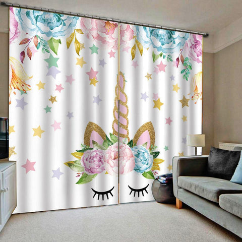 Floral Unicorn Window Curtain-Moon & Back-Floral Unicorn-55X39Inch(140x100cm)-Hook-Moon & Back