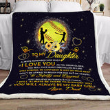 For My Dear Daughter Night Blanket, Dad And Daughter Blanket, From Dad To Daughter Blanket NS1-Moon & Back