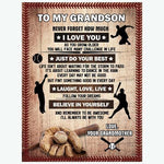 For Your Baseball Lover Grandson Blanket Gift - Birthday- Grandparents - Son - Personalized - Sport - DG5351-Moon & Back