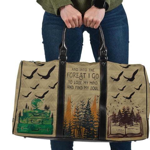 Forest Pattern Outdoor Travel Bag, Camping Lovers Gift-Moon & Back
