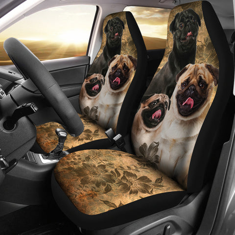 Pug Car Seat Covers (Set of 2)-Moon & Back