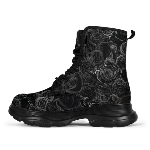 Gorgeous Black on Black Roses all over print trendy chunky boots