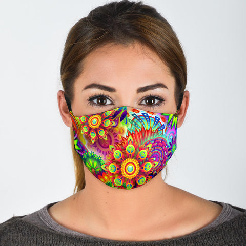 Abstract Bright Floral - Face Mask-Moon & Back