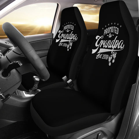 Promoted To Grandpa | Car Seat Covers-Moon & Back