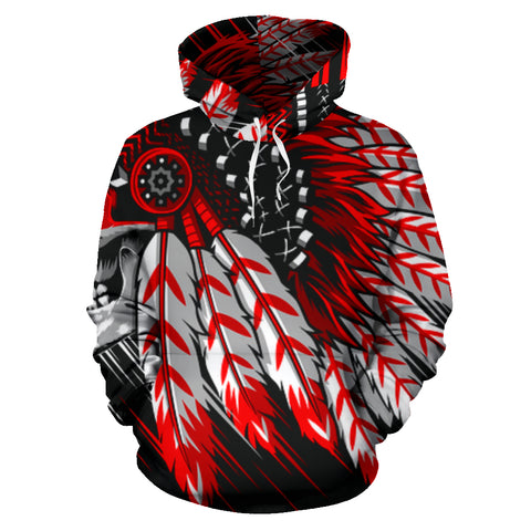 Native American Scull War Chief Hoodie