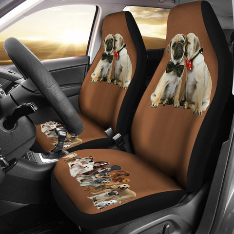 Pugs love Car Seat Cover-Moon & Back