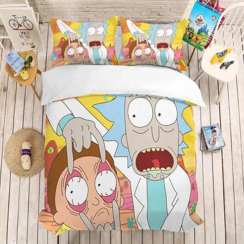 Funny Rick and Morty Bedding Duvet Cover Set-Moon & Back-US Queen-Moon & Back