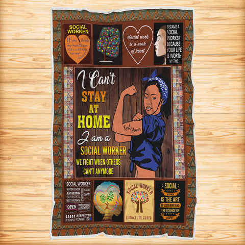 Proud Black Social Worker Woman Blanket, Black Lives Matter Gifts-Moon & Back