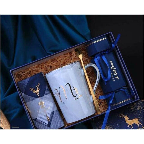 Gift set for Him - Ceramic cup, Handkerchief with Brooch and Candy Box-Moon & Back-Moon & Back