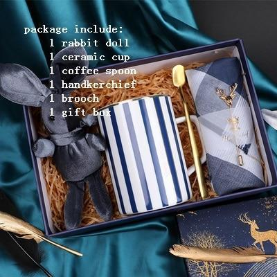 Gift Set for Him - Rabbit Doll, Stripe Ceramic cup, Handkerchief and Brooch-Moon & Back-Moon & Back