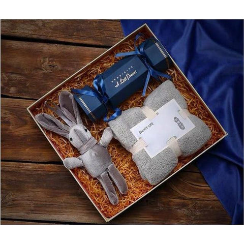 Gift set for Him- Rabbit doll, Towel and Candy Box-Moon & Back-Moon & Back