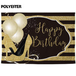 Gold Birthday Photography Backdrop Banner-Moon & Back-Poly 300X200CM-Moon & Back