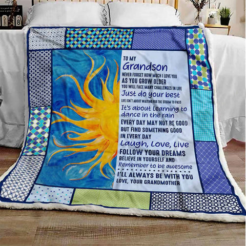Grandson Sunflower Blue Blanket -Gifts from Grandma, Nana, Papa, Grandfather-Moon & Back