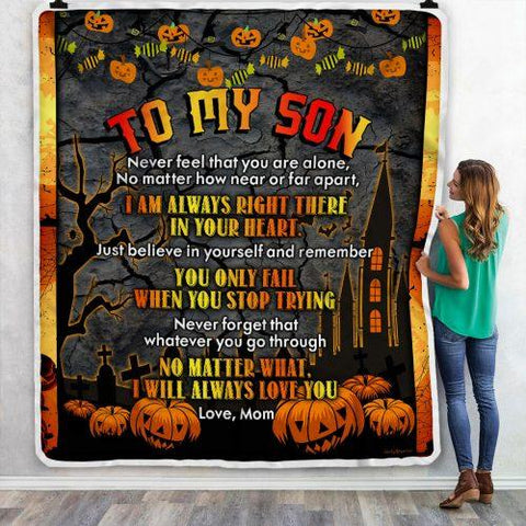 Halloween Blanket, Halloween Gift Blanket, Happy Halloween To My Son, Halloween Pumpkins Blanket NS1-Moon & Back