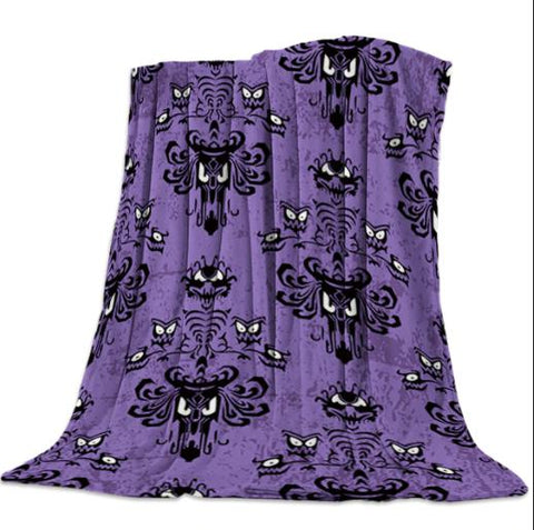 Halloween Grimace Haunted Mansion, Bed-Cover, Blanket-Moon & Back