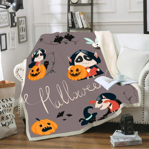 Halloween Pumpkin Vampire Blanket-Moon & Back