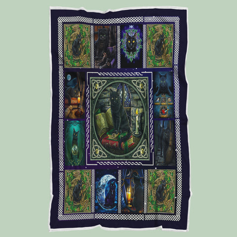 Halloween Witch Black Cat Blanket, Cat Lovers Gifts-Moon & Back