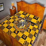 Harry Potter Series Hufflepuff 3pcs Quilt Bedding Set, Harry Potter Geek Wizard Wiccan Quilt Set Gifts-Moon & Back