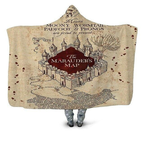 Harry Potter Series The Marauders Map Wearable Blanket-Moon & Back-Throw 50INCHx60INCH-Moon & Back