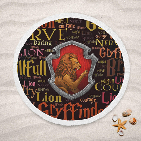 Harry Pottery Gryffindor Round Beach Towel, Gryffindor Gifts, Harry Potter Gifts, Harry Potter Decors, Gryffindor Decors, Hogwarts Decors-Moon & Back-Yes-Moon & Back