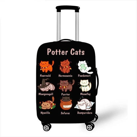 Harry Potter Luggage cover- Potter Cats-Moon & Back-black-S-Moon & Back