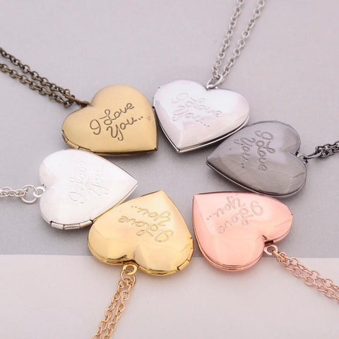 Heart Locket Necklace - I love you-Moon & Back-Gold-Moon & Back