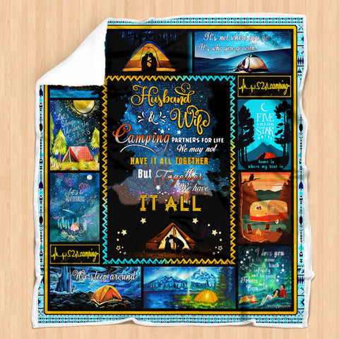 Husband and Wife -Camping Partners-Special Anniversary Blanket -Outdoor Lovers-Moon & Back