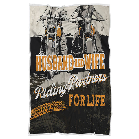 Husband And Wife Riding Partners Blanket, Motorcycle Lovers Gift-Moon & Back