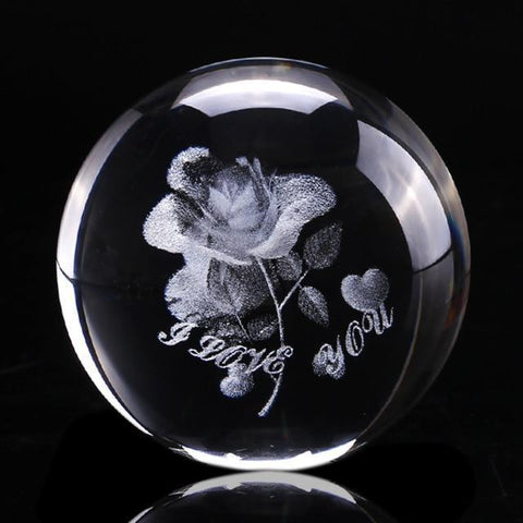I Love You | Rose Crystal Glass Globe-Moon & Back-Crystal Only-Moon & Back