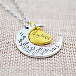 """I Love You To The Moon And Back"" Family Pendant Necklace-Moon & Back-Daughter-Moon & Back"