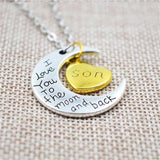 """I Love You To The Moon And Back"" Family Pendant Necklace-Moon & Back-Son-Moon & Back"