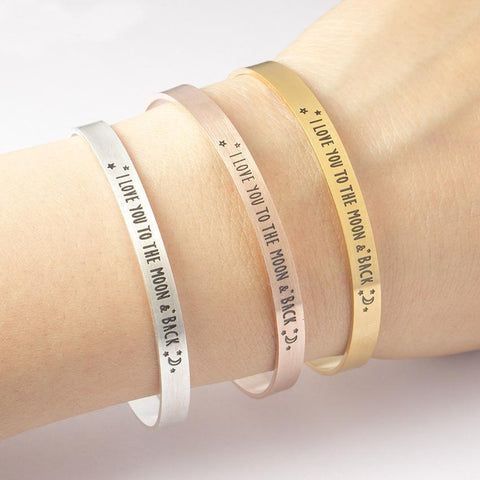 I Love You To The Moon & Back Cuff Bangle Bracelet-Moon & Back-Gold-color-United States-Moon & Back