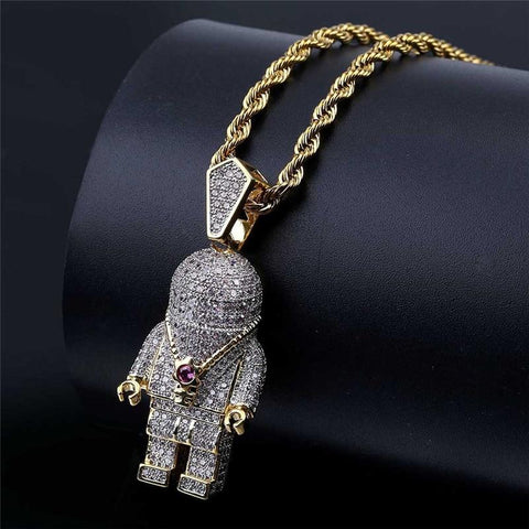 Iced Out Astronaut Pendant Necklace-Moon & Back-Gold-color-Rope Chain-18 inch-Moon & Back