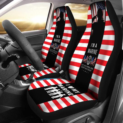 I'm A Marine Mom Car Seat Cover, Gift For Marines-Moon & Back