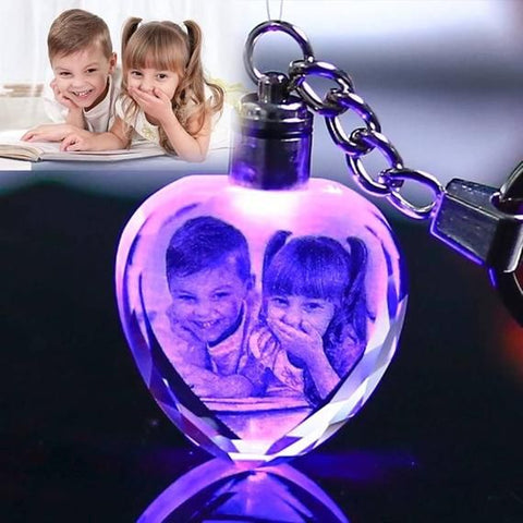 Customized Photo Engraved Crystal Heart Keychain-Moon & Back