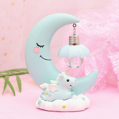 LED Unicorn-Moon Night Lamp-Moon & Back-Blue-Moon & Back